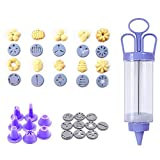 Cookie Biscuit Making Maker, Pump Press Machine Decor, Cake DIY Decorating Gun Set, with 10 Flower Pieces and 8 Flower Mouth Cookie Mold Tool
