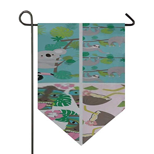 CHQTG Home Garden Flags Seamless Pattern Set Sloth Koala Tropical Vertical Double Sided Yard Outdoor Decorative 12 X 18.5 Inch Holiday Seasonal Outdoor F -  XM-353-20200226-5234