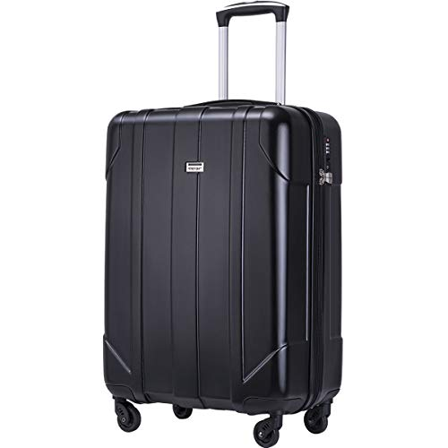Merax Hardside Spinner Luggage with Built-in TSA Lock Lightweight Suitcase 20inch 24inch and 28 inch Available (Black, 20 inch)