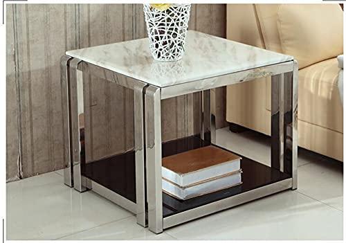 SHUJINGNCE Coin de marbre Plusieurs canapés Petit côté Plusieurs Acier Inoxydable créatif Simple Petite Table Basse carrée Petite Table (Color : 5)