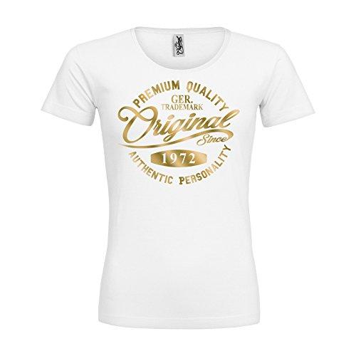 MDMA Frauen Premium T-Shirt Original Since 1972 Handwriting Premium Quality Textil white / Motiv gold / Gr. L