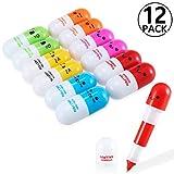 Yosemy [12 PCS] Mini Vitamine Pilule stylos à bille rétractables, cadeau babiole mignon rigolo - Multicolor