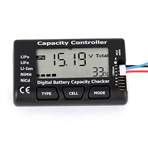 Digital Probador de Capacidad de la Batería, Probador del Controlador del Comprobador de Voltaje de la Capacidad de la Batería con LCD para LiPo Life Li-Ion Batería