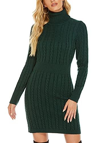 YIYIN Mujer Vestido Punto Elegante Manga Larga para Suéter,Casual Jersey Vestidos Invierno de Cuello Alto Verde M