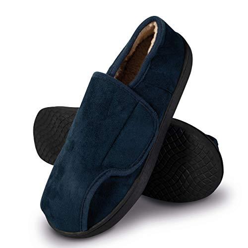 SHD Hausschuhe für Damen & Herren, rutschfeste Pantoffeln, warm und bequem, Klett-Hausschuhe mit leichtem Einstieg, Memory Foam, Unisex blau (38/39)