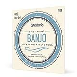 D'Addario EJ60 Jeu de cordes en nickel pour Banjo 5 cordes 9-20 Light