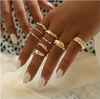 YERTTER Men 9 pcs Vintage Gold Ring Set Wave Rings Set Rhinestone Crystal Rings Set Joint Knuckle Ring Set Finger Rings St...