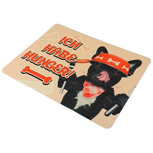 MACOSA PA3100 naponderlegger versch. Motieven 50 x 39 cm kunststof antislip onderlegger Fressnap-mat huisdier-accessoires nap-onderlegger, 50 x 39 x 0,3 cm, Ich habe hunger