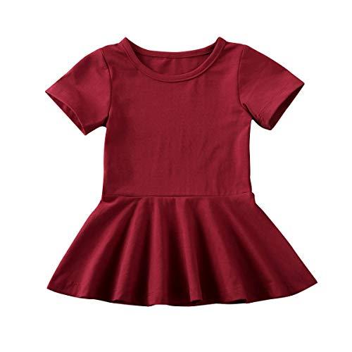 Greetuny - Vestido de verano de manga corta informal para niña Vino Rosso 80 cm
