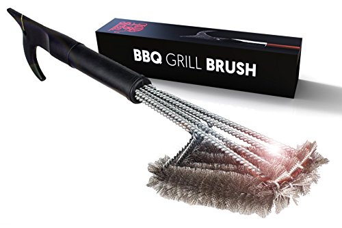 Best BBQ Grill Brush 4-in-1 Head Design | 18' Grill Cleaner - Safe Tool | Steel Bristles, Won't Scratch Grate | Perfect BBQ Tools Gift for Men, Barbeque Grill Accessory | Fireman Designed