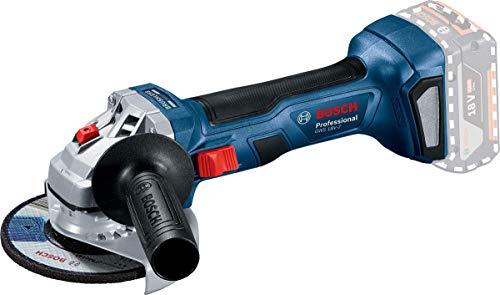 Bosch Professional 18V System Akku Winkelschleifer GWS 18V-7 (125 mm Scheiben-Ø, Schutzhaube, Zusatzhandgriff, Aufnahmeflansch, Spannmutter, ohne Akkus/Ladegerät, im Karton)