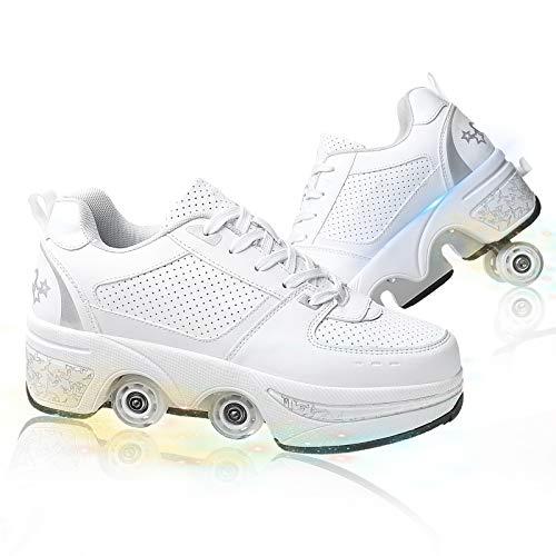 HealHeatersⓇ Rollschuhe 2 in 1 Mehrzweck Inline-Skate Deformations Schuhe Mit Rollen Verstellbare Roller Skates Stiefel Für Unisex Anfänger Kinder,White+Silver,34