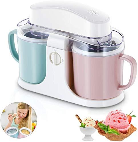 VBARV DIY Double Barrel Eismaschine, Home automatische Eismaschine , 1L Ideal für Gelato, Sorbet & Frozen Joghurt