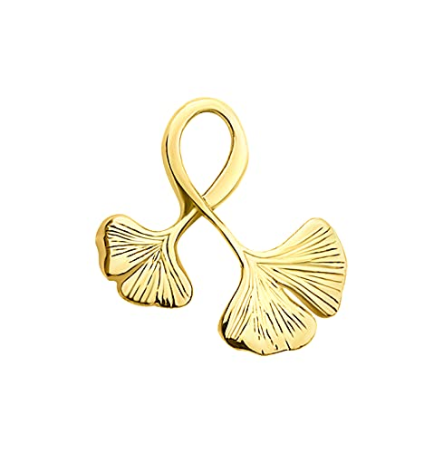 DIAMALA Damen Ketten Anhänger 375 Gold (9 Karat) - Echtgold Anhänger mit Ginko Blatt Motiv - DI60019