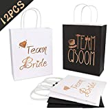 AerWo 12Pcs Wedding Party Paper Gift Bags 6 Bridesmaid 6 Groomsmen Gift Bags Bridal Shower Bachelorette Party Favor Bags Rose Gold Foiled with Handle