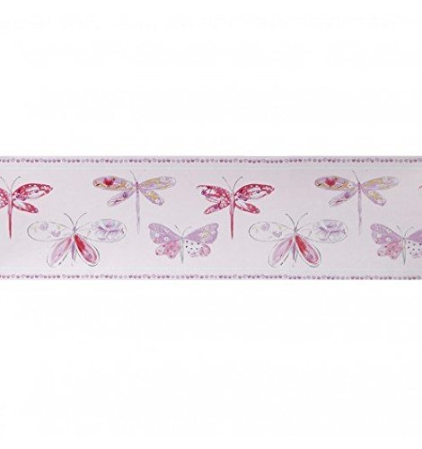 Caselio Selbstklebende Bordüre Wand Libelle violett–Selbstklebende Bordüre