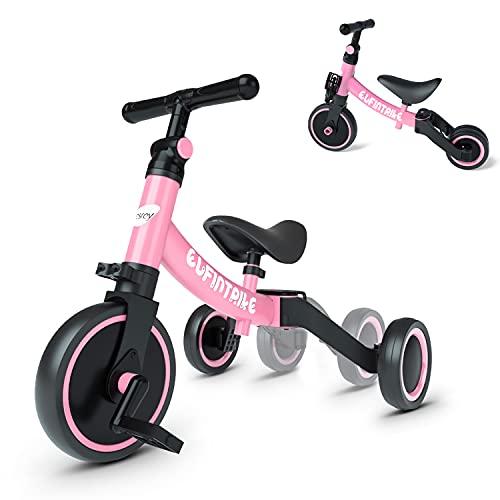 besrey Triciclos para Niños, 5 en 1 Un Bici polivalente, Adecuado para niños de 1-4 años,Triciclo,Bicicleta,Carro de Equilibrio,Caminante, Altura del Asiento Regulable, Rosa