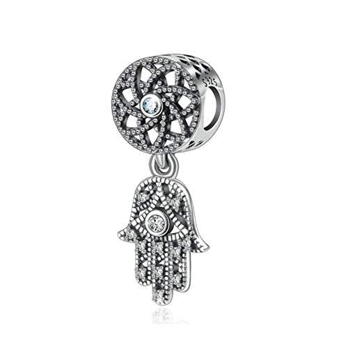 Hand of Fatima Charm 925 Sterling Silber Hamsa Charm Jahrestag Charm für Pandora Charm-Armband B