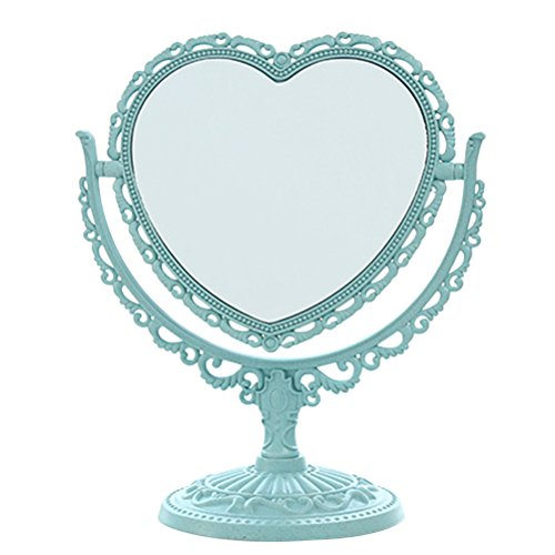 Schminkspiegel, Schminkspiegel mit Herz-Motiv, zweiseitig, 360 Grad drehbar (hellblau)