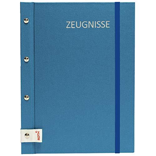 ROTH Zeugnismappe Metallium mit Buchschrauben - Blue - mit 12 A4 Klarsichthüllen, erweiterbar