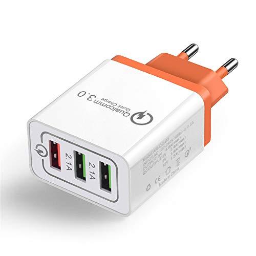 Posional 3 Puertos USB Colorido Cargador 2.1A Cabezal de Carga de Viaje...