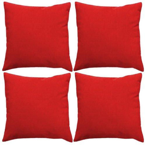 Gardenista Premium Water Resistant Outdoor Foam Crumb Filled 18' Garden Furniture Scatter Cushion - 4 Pack (Red)