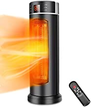Space Heater - TRUSTECH Tower Heater 1500W 70° Oscillation with Remote Control, Overheating & Tip-Over Protection, Adjustable Thermostat, 12H Timer Portable Ceramic Space heater for Office, Indoor Use