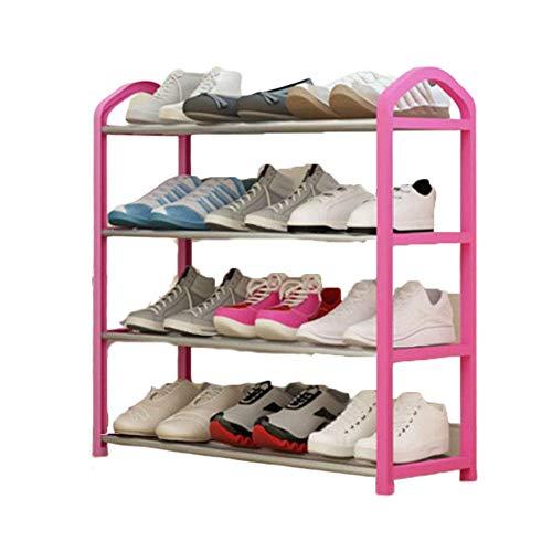 qazxsw Zapatero/Organizador de Almacenamiento de Zapatos Metal portátil, 10 Pares de Zapatos, fácil de Montar sin Herramientas Postes de Metal y Marco de ratán de plástico, 21,6 *