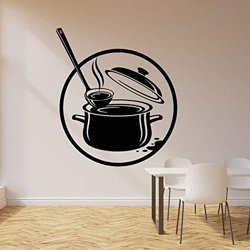 Calcomanías de vinilo para pared olla de cocina cocina gourmet sopa restaurante decoración de interiores pegatinas ventana mural de vidrio mural