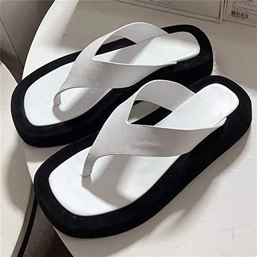 Fenshan223 Sandalias de solación Gruesa de Verano Femenino de tacón Plano de Ocio de tacón de Playa Zapatos de Playa Chanclas de Cuero Zapatillas al Aire Libre (Color : White, Shoe Size : 7.5)