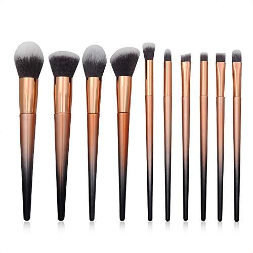 GBY Lot de 10 pinceaux de maquillage coniques en plastique dégradé avec manche en spirale licorne, Fibre synthétique., doré, Taille unique