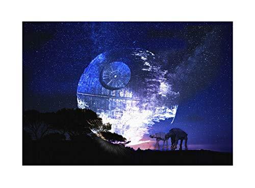 Uglyshirt89 Death Star Moonlight Premium Leinwand | Star Todesstern Darth Vader Keilrahmen Bild Gemälde Wandbild (60 x 40 cm)