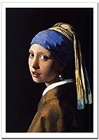 世界の名画 フェルメール 真珠の耳飾りの少女 ジークレー技法高級ポスター (A2/420ミリ×594ミリ)