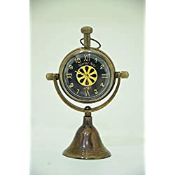 Royal Nauticals Handmade Antique Brass Desk and Shelf Clock Nautical Desk and Table Decor Paperweight Clock for Home, Office, Reception Counter Clock