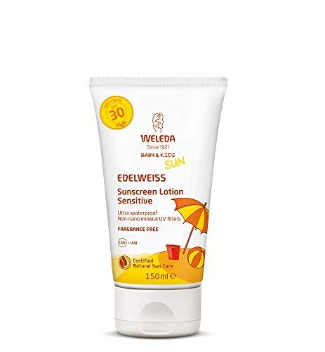WELEDA Baby und Kids Edelweiss Sensitiv Sonnenmilch LSF 30, sofortiger Naturkosmetik Sonnenschutz mit UV-Filtern für Babys, Kinder und sensible Haut, parfümfrei und wasserfest (1 x 150 ml)