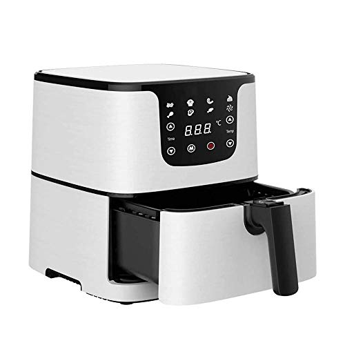 NCRD Freidora de aire, 5.9 cuartos de galón (5,5 litros) Horno de aire caliente eléctrico Horno Oilla de cocina con pantalla digital LCD y olla de freír antiadherente, 8 ajustes prefabricados, precale