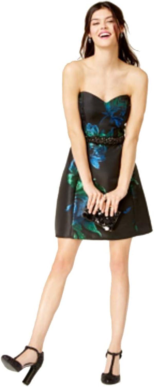 Juniors' Strapless Metallic Fit & Flare Dress