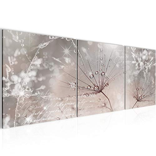 Wandbild Blumen Pusteblume Bilder 120 x 40 cm Vlies - Leinwand Bild XXL Format Wandbilder Wohnzimmer Wohnung Deko Kunstdrucke Rosa Grau 3 Teile - MADE IN GERMANY - Fertig zum Aufhängen 205533b