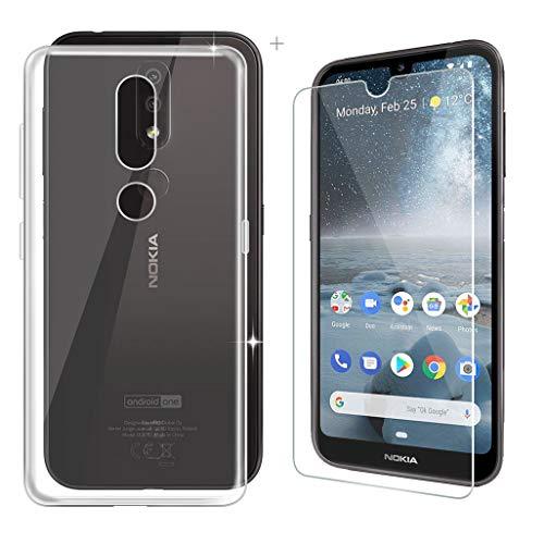 """ZXLZKQ Vetro Temperato Pellicola Protettiva per Nokia 4.2 (5.71"""") + Cover Morbido Flessibile Custodia Case Trasparente Silicone TPU per Nokia 4.2 (5.71"""").[Clear]"""