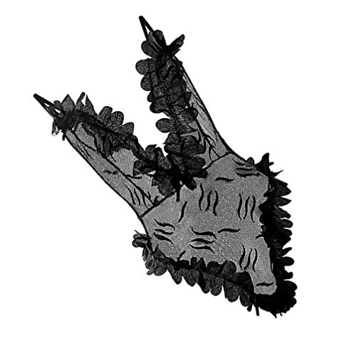 Amosfun Kobiety jednoczęściowa bielizna głębokie V Teddy seksowne koronkowe body (czarne)
