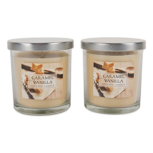 DII Single Wick Candle Evenly Burning Highly Scented (8 Oz Each) For Wedding, Birthday, Holiday, Home Décor, 2 Pack, Caramel Vanilla, 2 Count
