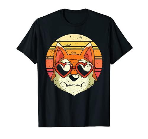 Herz Sonnenbrille Retro Shiba Inu T-Shirt