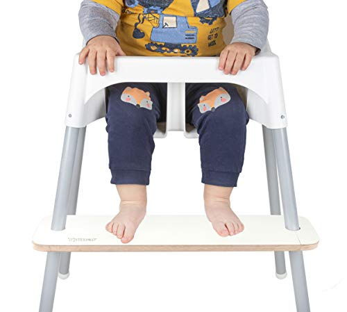 Tymar Reposapiés ajustable de madera para silla de alimentación de bebé, reposapiés para trona Antilop (blanco-K)