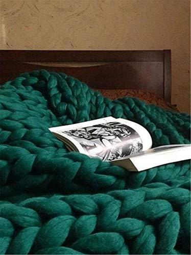 RAILONCH Gestrickte Grobe Strickdecke Wolle Kuscheldecke Grobstrick Wolldecke Strickdecke Tagesdecke Überwurf Decke Zuhause Dekor (Dunkelgrün,120×180cm)
