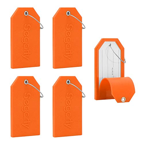 Luggage Tags, 5 PCS Set Segarty Baggage Suitcase Tag with Full Back Privacy Cover for Personal Information & Steel Loops, Orange