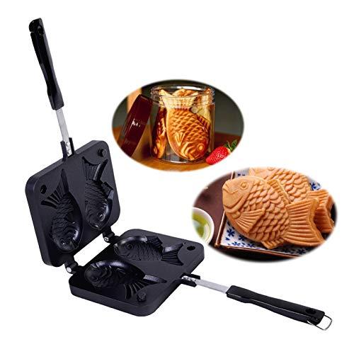 AMZSELLER Waffle Makers & Irons japoneses en forma de pescado para hornear Waffle Pan Maker 2 herramientas para tartas caseras (color: negro)