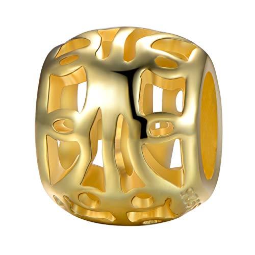 Andante-Stones - Original, Plata de Ley 925 sólida, Cuenta de Oro, Flores,...