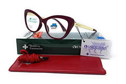 Gafas de lectura, presbicia, vista cansada, Mujer Diseño en Colores: Demi, Grey, Beige. VENICE Hepburn - Dioptrías: 1 a 3,5 (Burgundy con Blue Blocking, +2,50)