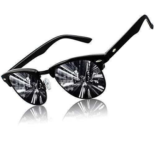 CGID MJ56 Retro Vintage Sonnenbrille im angesagte 60er Browline-Style mit markantem Halbrahmen Sonnenbrille,Glänzend Schwarz-Grau