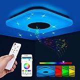 Lámpara De Techo Led con Altavoz Bluetooth, 36W Lámpara LED Techo con Regulable RGB, Lampara Techo Habitacion LED con Control Remoto y APP, Plafon Cocina para Baño Dormitorio Sala de Estar